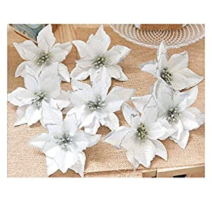 8pcs Silver Glitter Artificial Poinsettia Flowers for Christmas Decoration for home use & Wedding Party wreaths & garlands
