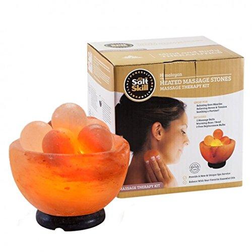 Salt Skill, Salt Lamp Himalayan Salt Massage Stone Lamp with Elegant Wood Base, 25 W Bulb and Switch-Cord Included