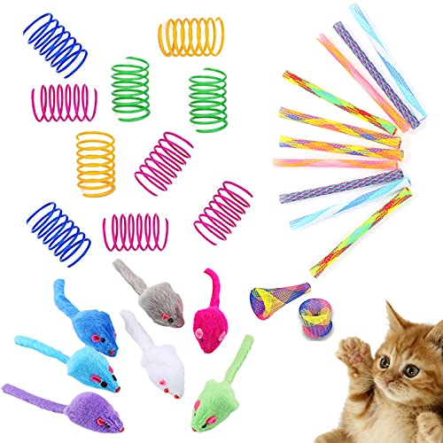 N/0 Juguetes para Gatos, 29 Piezas Juguete Colorido del Gato ,Juguete Plástico para Gato,Juguetes para Gatos interactivos Raton, Gatito Mascotas Novedad Regalo Mascotas Interactiva Mascota