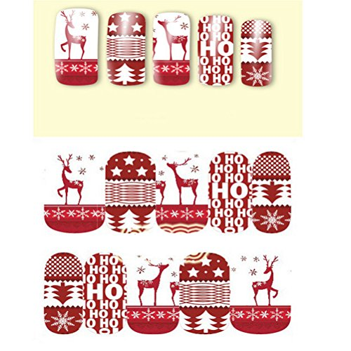 PIXNOR Noël Nail Art Stickers Autocollants 10pcs