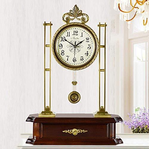 POETRY Relojes de repisa para Sala de Estar, Reloj mecedor silencioso de latón, Reloj de Cuarzo...
