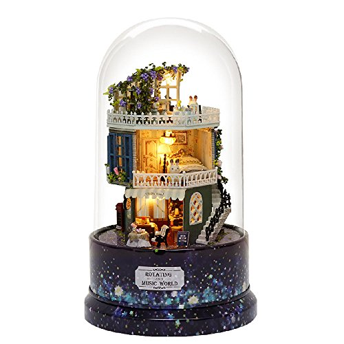 (moin moin) ドールハウス ミニチュア 手作りキット セット ドールハウス タワー ドーム シリーズ 回転式 オルゴール + LEDライト + ドーム型アクリルカバー (星降る夜の珈琲屋さん)