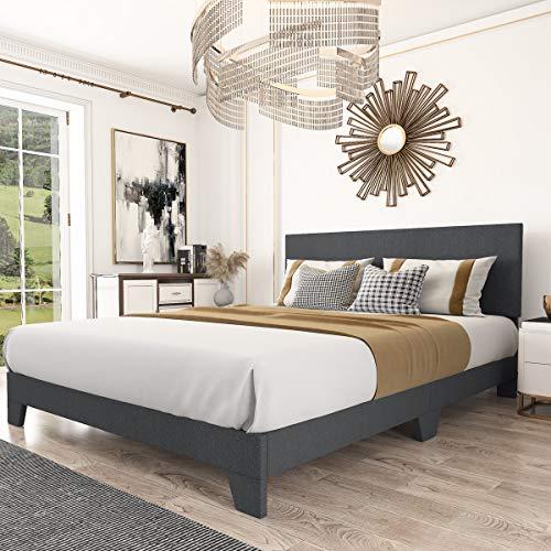 Amolife King Size Platform Bed Frame with Adjustable Headboard and Wood Slat Support,Faux Linen Upholstered Mattress Foundation, Dark Grey