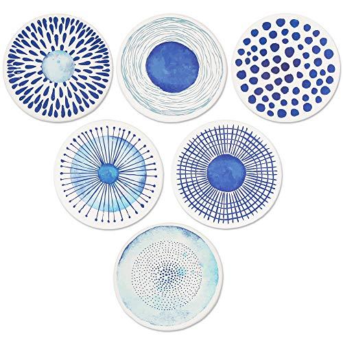 AD Juego de 6 posavasos para bebidas absorbentes de cerámica redonda con base de corcho, alfombrilla de protección para tazas y tazas, oficina, cocina