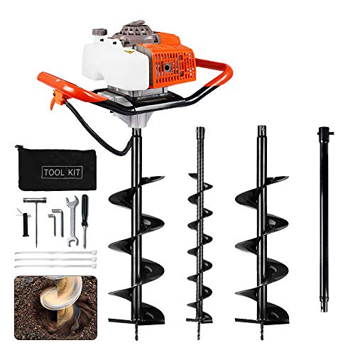 ECO LLC Earth Auger Power Head Heavy Duty with 63CC 2 Cycle Powered-Digger-Extention-Stroke-Person-Powerhead Full Engine Post Hole Digger Auger Petrol Drill Bit +2 Bit 4' 8' + 23'' Extention Rod