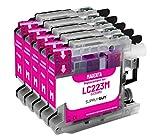 5 Cartuchos de Tinta Compatible con Brother LC223 LC-223XL Magenta para MFC-J5320dw MFC-J5620dw MFC-J4420dw MFC-J480dw DCP-J4120dw DCP-J562dw y más (Ver página del Producto)