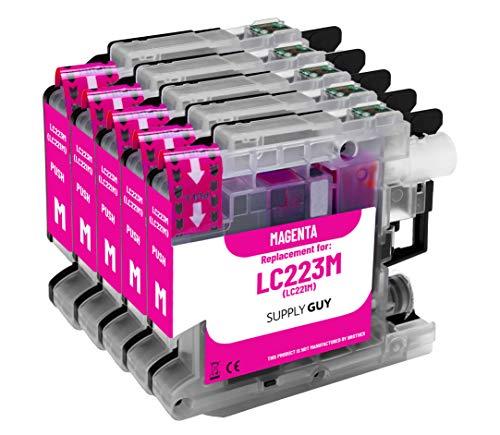 Supply Guy 5 Druckerpatronen kompatibel mit Brother LC223 LC-223XL LC-225 LC-227 Magenta mit Chip und Füllstandsanzeige für MFC-J5320DW MFC-J5620DW MFC-J480DW DCP-J4120DW DCP-J562DW und weitere