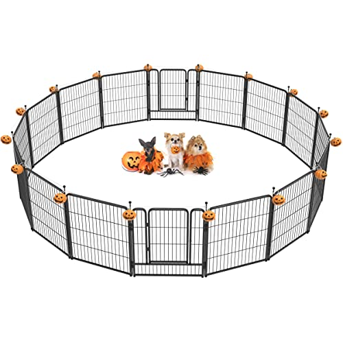 FXW Outdoor Dog Playpen, Dog Pen Fences 16 Panels 32Inch Height Puppy Pet Playpen for Small/Medium Dogs Exercise Pen with 2 Doors Indoor Playpen for the Yard Camping Dog Fence Heavy-Duty Metal Barrier