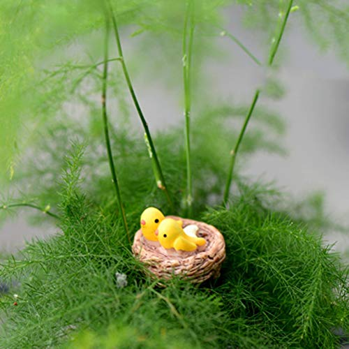Olatokolaos Diy Mini Nest With Birds Fairy Garden Miniatures Gnomes Moss Terrariums Resin Crafts Figurines - Bird Birdhouse Less Decor Ornament Large House Sugar Eggs Feeder Nest Drink