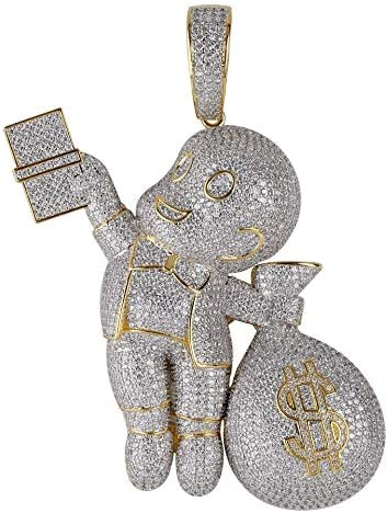 Moca Jewelry Mario Money Bag Pendant Hip Hop Simulated Diamond Iced Out Rhinestone Crystal Necklace product image