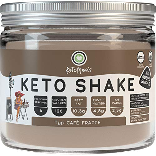 KetoMeals Keto Shake Café Frappé - Eiskaffee ohne Zucker | Abnehm Shake für Keto Diät & Low Carb | No Carb Iced Coffee Protein | Ideale Makros für Ketogene Ernährung, 240g