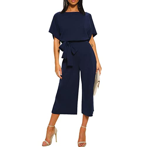 Happy Sailed Womens Casual Short Sleeve Belted Keyhole Back One Piece Jumpsuit Romper