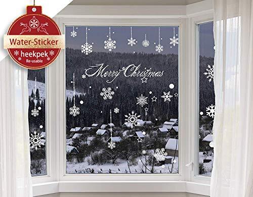 heekpek Schneeflocken Selbstklebend Fensterschmuck Weihnachten Schneeflocke Weihnachtsdeko Fenstertattoo Wandtattoo Weihnachten Deko Weiss Weihnachtsdeko Weihnachten Removable Aufkleber