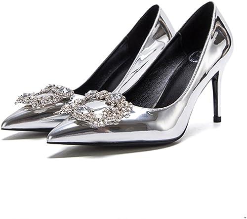 Chaussures de mariée en argent 8cm, talons talons hauts, talon fin superficielle bouche satin strass boucle seule chaussures ( Couleur   argent8m , taille   41 )  wholesape pas cher