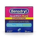 Benadryl Allergy + Congestion, 24 Tablets Each (Pack of 5)