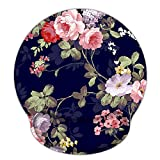 Ergonomic Mouse Pad with Gel Wrist Rest Support, iLeadon Non-Slip Rubber Base Wrist Rest Pad for Home, Office Easy Typing & Pain Relief, Navy Blue Rose