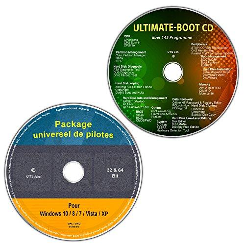 CD/DVD du universel de pilotes pour tous les modèles de PC et de Notebooks Windows 10 / 8 / 7 / Vista / XP (32 & 64 Bit) + Ultimate Boot CD / CD d'assistance et d'aide urgente pour les systèmes d'exploitation Windows [outils de diagnostic et de réparation du système] (Kit économique de 2 DVD)