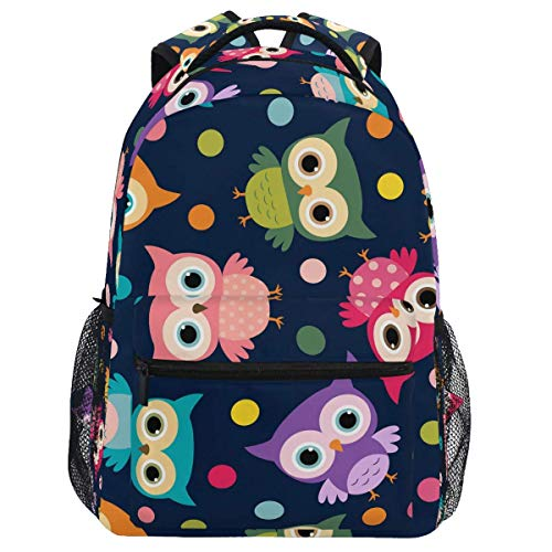 Mouthdodo Cute Owl Colorful Polka Dot Backpack Bookbag Daypack Travel Hiking Camping School Laptop Bag