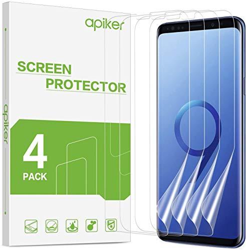 apiker 4 Unidades Protector Pantalla Soft TPU Compatible con Samsung Galaxy S9 Plus, Cobertura Máxima, Sin Burbujas, Sin Aplicación Húmeda, 24 Horas de Autocuración