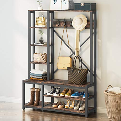 Tribesigns 4-in-1 Entryway Hall Tree with Side Storage Shelves Industrial Wooden Storage Shelving with Shoe BenchCoat Rack5 Hooks for Entryway Bedroom Sturdy and Easy Assembly