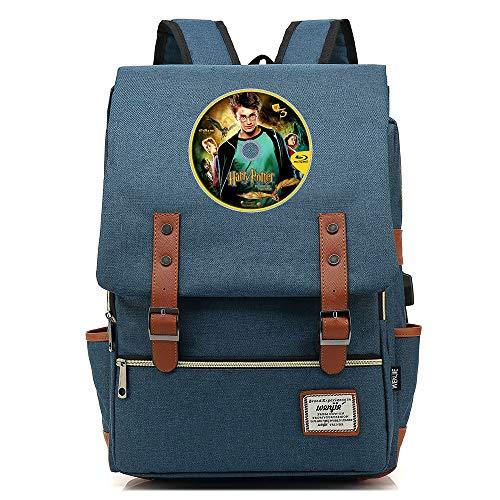 NYLY Mochila de Viaje Retro Bolso de Escuela Infantil de Moda Mochila de Lona para computadora portátil Harry Potter Unisex Azul Oscuro