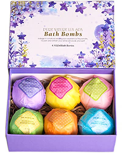 LuxSpa Bath Bombs Gift Set - The Best Ultra Bubble Fizzies with Natural Dead Sea Salt Cocoa and Shea Essential Oils, 6 x 4.1 oz, The Best Birthday Gift Idea for Her/Him, Wife, Girlfriend, Women