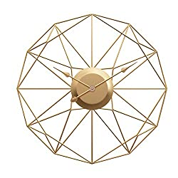 Haoun Modern Metal Wall Clock 20 Inch,Silent Non Ticking Wall Clock Large Decorative for Living Room Bedroom Office Decor - Gold