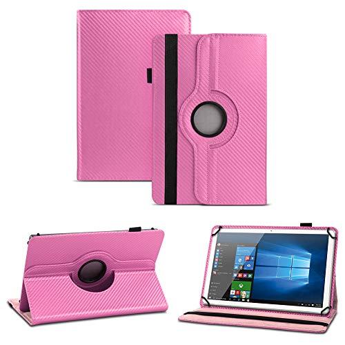 NAUC Blaupunkt Polaris A08.G301 Tablet Schutzhülle Tasche Cover Hülle Carbon-Erscheinungsbild 360°, Farben:Pink