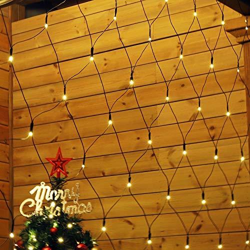 SALCAR Anti-Rost LED Lichternetz 3x2m, LED Lichtervorhang 31V Sicherheitsnetzteil, Busche 204er LED Lichterkette Innen und Außen für Weihnachten, Party, Geburstag, Hochzeit - Warmweiß