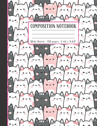 Composition Notebook: Wide Ruled Paper Notebook Journal   Cute Pink pastel chubby cat doodle   Soft Matte Lined Workbook for Girls Boys Kids Teens Students  Cute back to school supplies Gift Ideas.