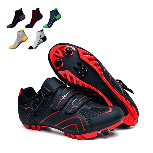 UYBAG Adult Mountain Bikes Shoes Breathable Cycling Shoes with Cleats and Lock System Cycling Spinning Shoe with 5 Pairs Sports Socks The Best Gift for Beginners,37