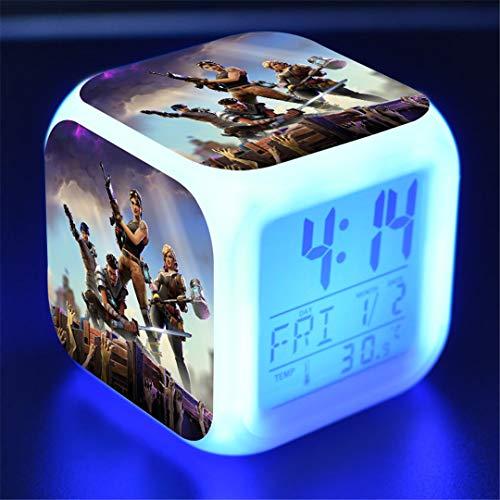 Orlando MR Despertador Digital Luces-Despertador Infantiles Relojes Despertadores 8 Sonidos 7 Colores Wake-Up Light Regalo para Niños Niñas,A