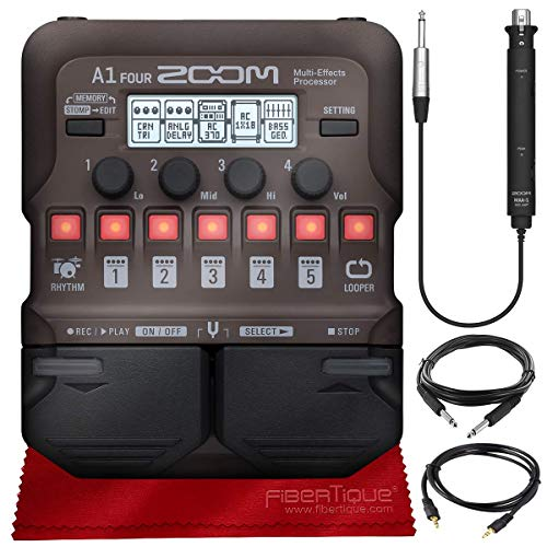 Zoom A1 FOUR Acoustic Instrument Multi-Effect Processor for Acoustic Guitar, Saxophone, Trumpet, Violin, Harmonica or Acoustic Bass + Cables & Fibertique Microfiber Cleaning Cloth