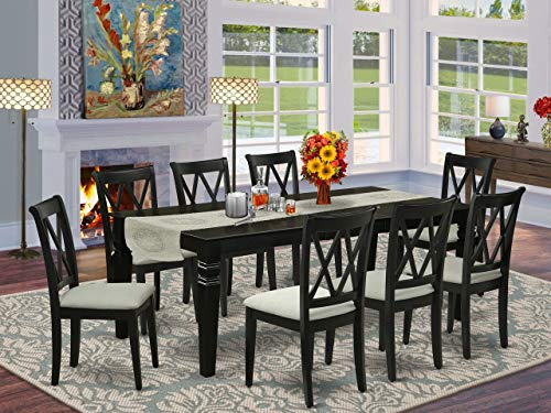 9Pc Dining Set Includes a Rectangle Dining Table with Butterfly Leaf and Eight Double X Back Microfiber Seat Kitchen Chairs, Black Finish