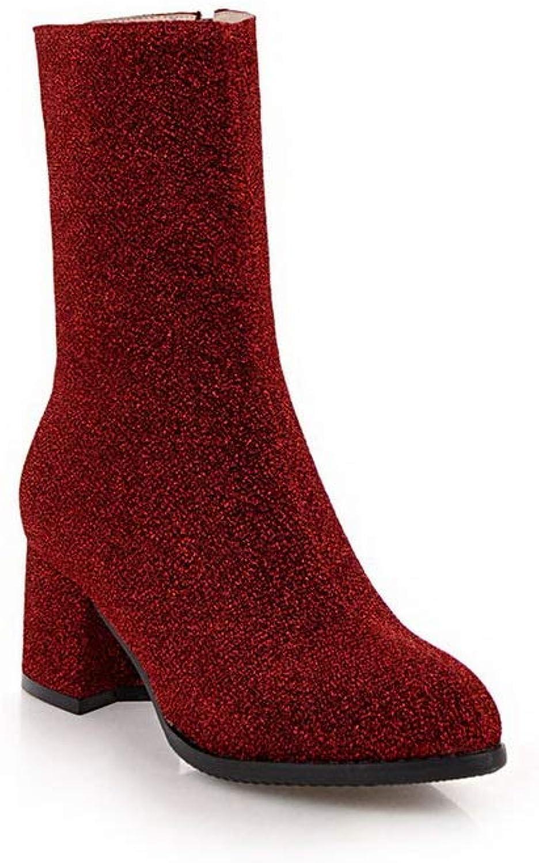 AdeeSu Womens Chunky Heels Square Heels Pointed-Toe Urethane Boots SXC03360