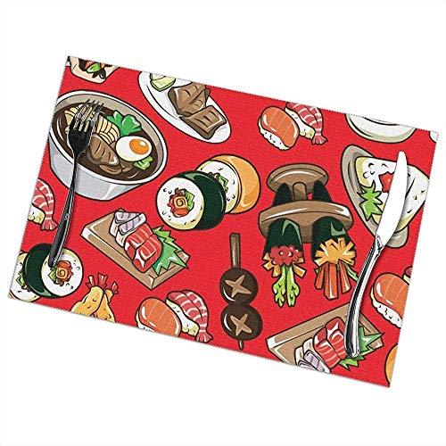 Hao-shop hittebestendige placemats set van 6 eettafelsets sushi-tafelset antislip wasbaar