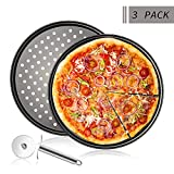 Teglia per Pizza,Set da 3,Teglia Rotonda Forata Antiaderente per Pizza,Grigio Acciaio al Carbonio Teglie Pizza,Stampo da Forno per Cucinare Pizza Croccanti -∅32 cm,con Taglia Pizza (2er Pack)