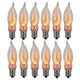 Flicker Flame Light Bulb, Realistic Flame Shaped Bulb Flickering Orange, Halloween Decor, 1 Watt, 120 Volt, E12 Flame Candelabra Light Bulbs Suitable for C18 String Lights, 12-Pack