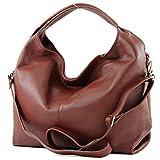 modamoda de - DS26 - ital Damenhandtasche aus Nappaleder, Farbe:Kastanie