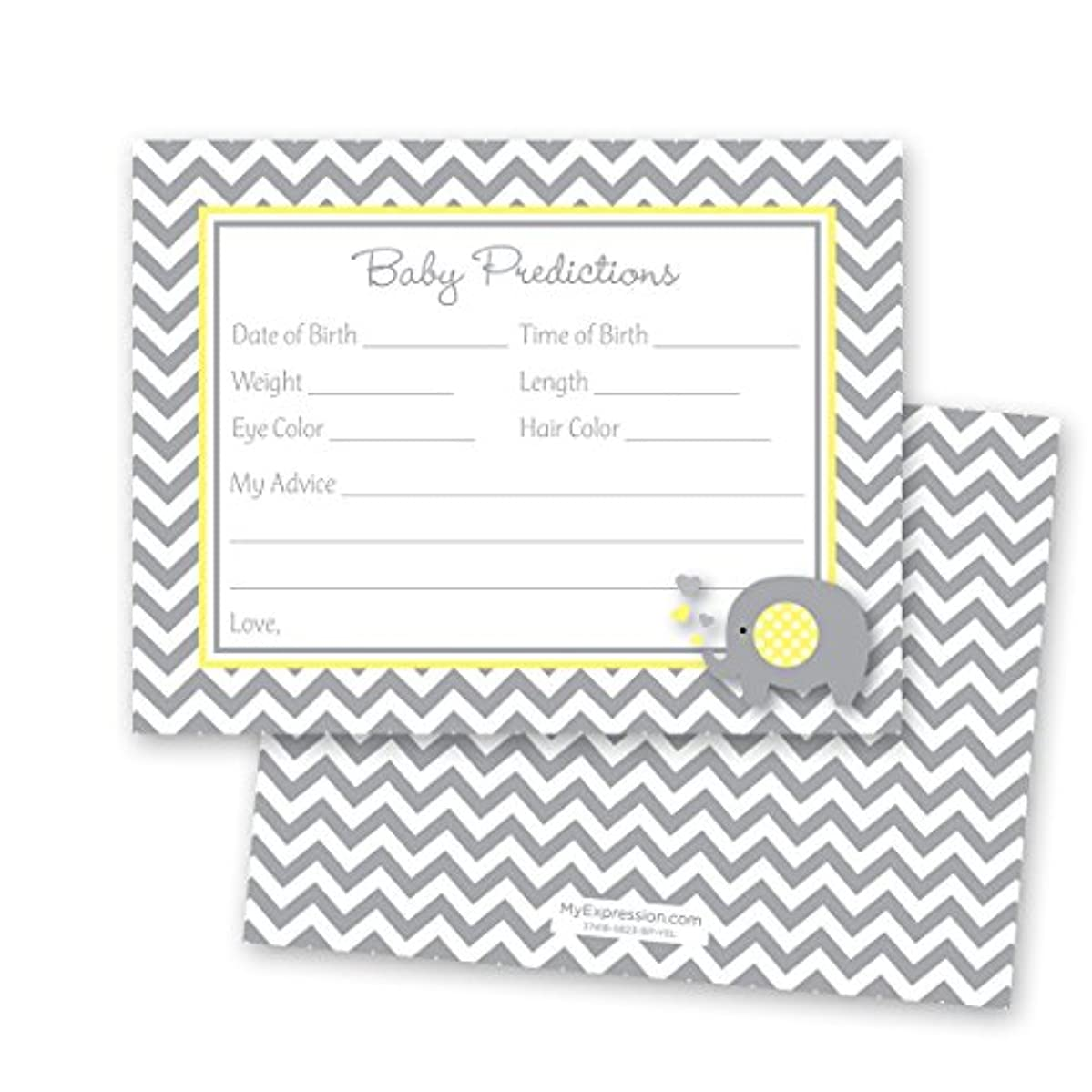 48 Cnt Grey Yellow Chevron Elephant Baby Prediction Cards