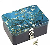 dream_light Retro Style Rectangle Tinplate Storage Box with Padlock, Home Kitchen Desktop Storage Tin Canister, Chocolate Candy Tea Coffee Cosmetics Jewelry Photos Gift Case (Apricot Flower)