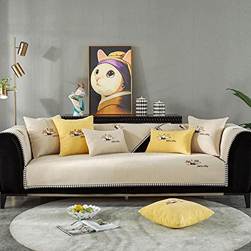 Fundas Sofa Chaise Longue Cubre Sofa Acolchado Fundas para Sofa sin Antideslizante Bordado de Chenille, Antideslizante,-110x180cm (43x71inch)_Blanquecino-Vendido en Pedazos