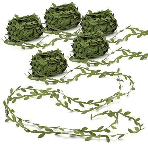 Tosnail - Guirnalda de 4 rollos de hojas de hojas de color verde oliva de 87,5 m, ideal para manualidades, regalos, fiestas, bodas, decoración del hogar