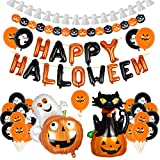 Bluelves Halloween Decorazioni Kit, Kit di Palloncini di Happy Halloween, Ghirlanda Halloween, Halloween Zucca Palloncini, Halloween Gatto Nero Palloncini