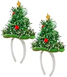 Dreamzfit - Paquete de 2 mini sombrero de Navidad verde espumillón diadema de Navidad - banda de pelo para árbol de Navidad, accesorios para disfraz de Navidad, accesorios para fiestas