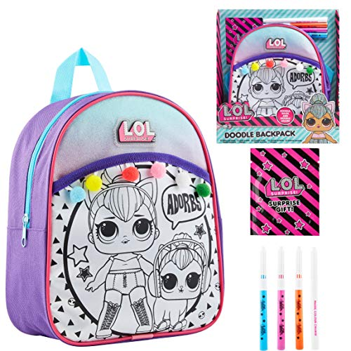 L.O.L. Surprise! Colour Your Own Backpack For Girls, Featuring Lol doll Kitty Queen, Crafts For Kids, Colouring Set with Backpack to Decorate Includes Markers, Gifts For Girls