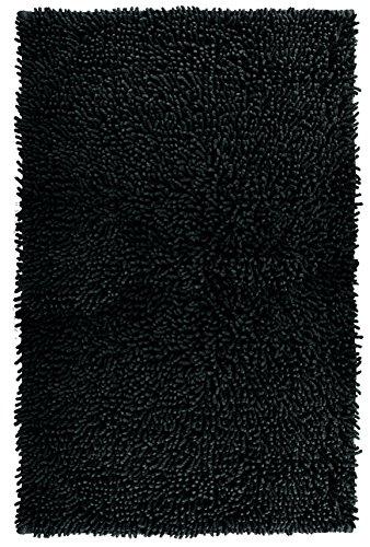 Lashuma Badmat Chenille Zwart, Effen Bad Mat Zachte Mat 50 x 80 cm
