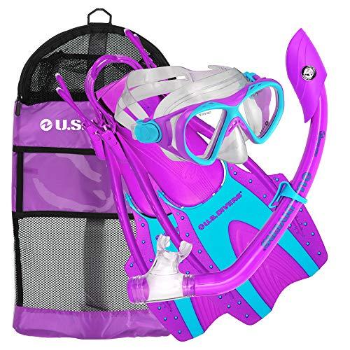 U.S. Divers Small/Medium Youth Buzz Junior Snorkeling Mask and Fin Diving Mesh Bag Set, Fun Purple