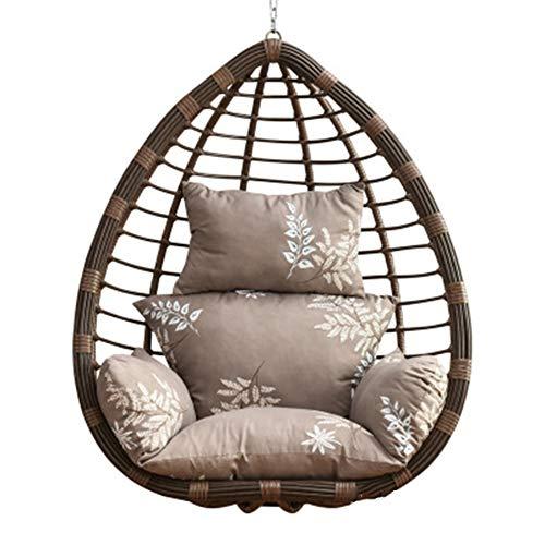 ping bu Hammock Chair Cushion Hanging Basket Pad Rocking Chair Mat Swing Chair Cushion Thick Nest Back for Outdoor Indoor Garden Patio Yard (Grey white)