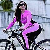 Frauen-Radtrikot Triathlon Langarm Hosen Fahrrad Radfahren Overall Jersey Sets Reit Skinsuit MTB Passen (Color : F, Size : XXL)